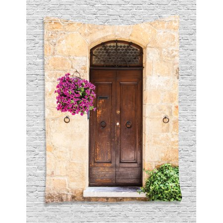 Tuscan Decor Wall Hanging Tapestry, Image Of Rusty Wood Door With Flowers In Italian Town Authentic Nostalgic Building, Bedroom Living Room Dorm Accessories, By Ambesonne