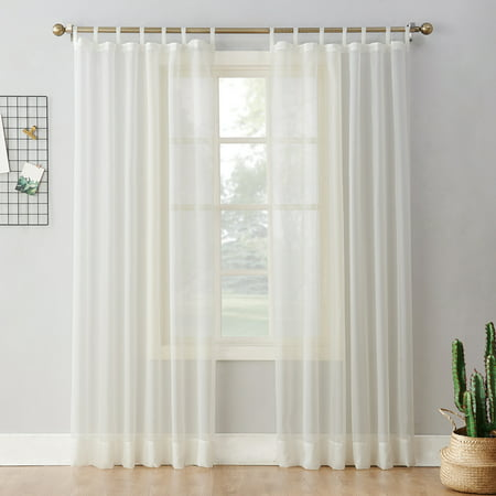 No. 918 Emily Sheer Voile Tab Top Curtain Panel Tab Top Window Curtain