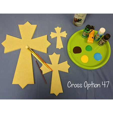 Wooden Cross Cutout, 16'' Paintable Wood Cross, Unfinished Craft (47)