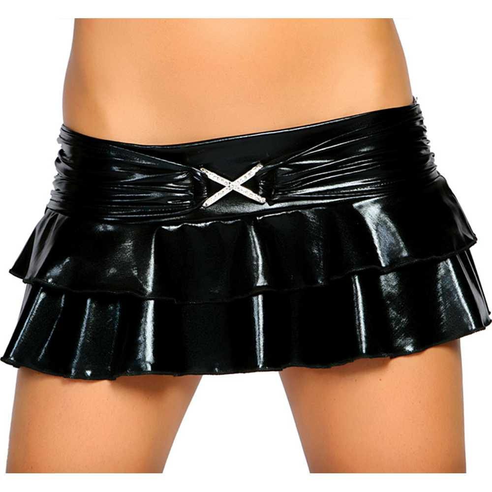 Metallic Black Layered Mini Skirt