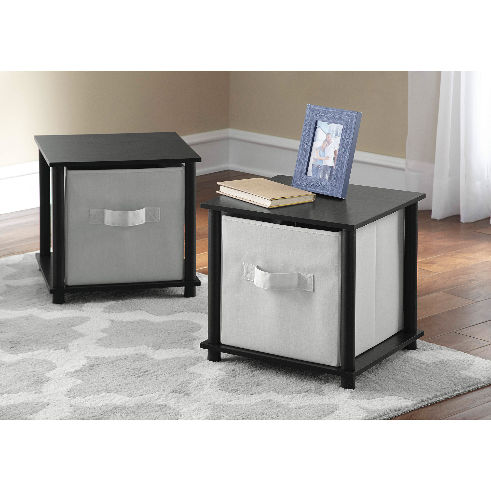 Mainstays No Tools Single Cube Storage Shelf Side Tables, Set Of 2    Walmart.com