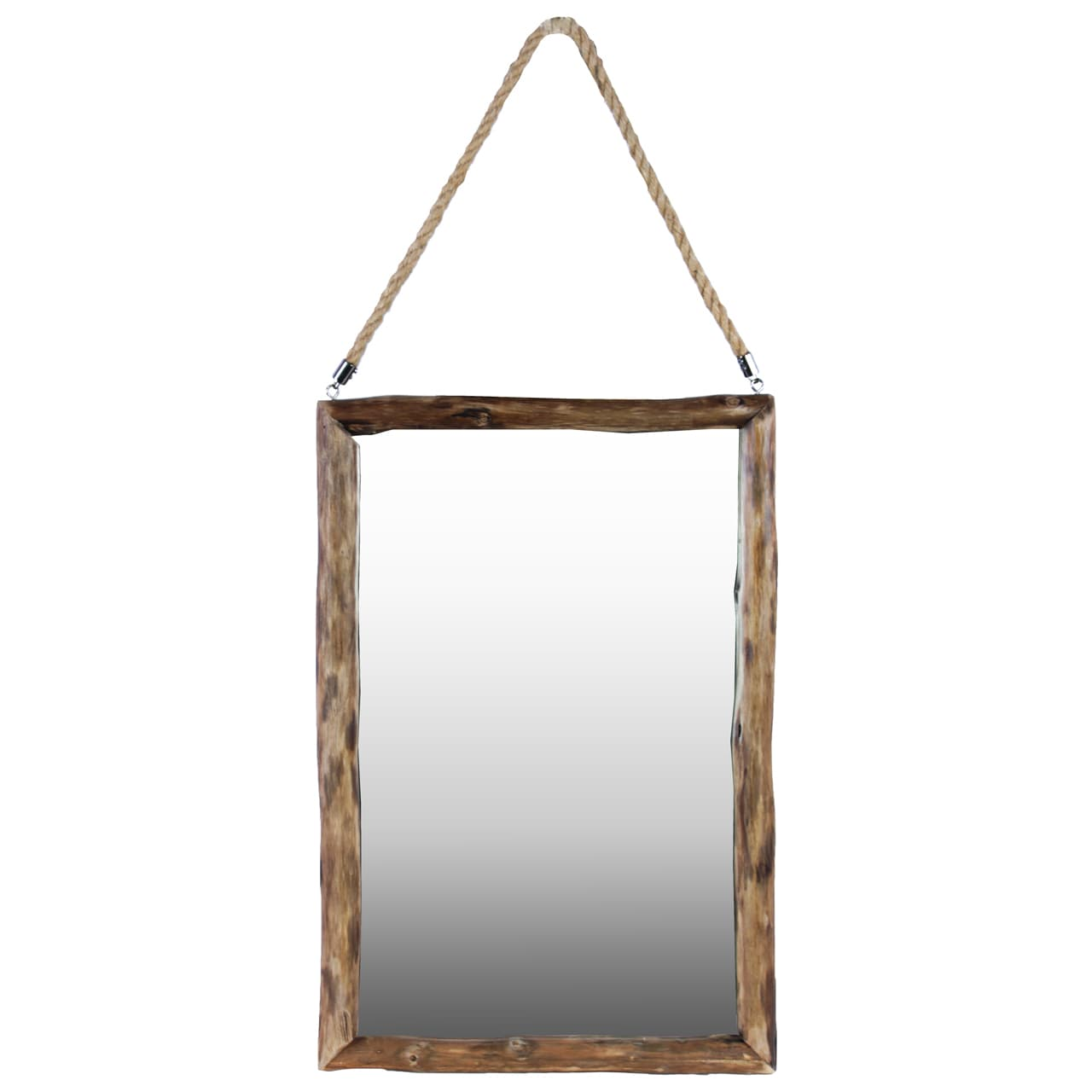 Urban Trends Collection Natural Wood Finish Brown Wood Rectangular Mirror With Rope Hanger by Urban Trend LLC