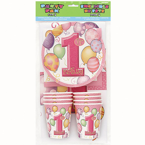 Pink Balloons 1st Birthday Party Kit for 8