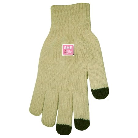 S.H.E. 4Life Breast Cancer Awareness TouchScreen Gloves for All Devices (Tan/Black (Best Tips To Increase Breast Size)