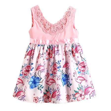 88e5fa93e Gaono - Toddler Kid Baby Girls Sleeveless V-neck Floral Flamingo Dress  Outfits - Walmart.com