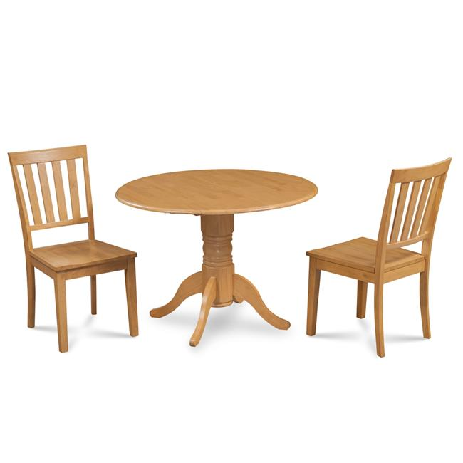 M&D Furniture BUMO3-OAK-W Burlington 3 Piece small kitchen table set-kitchen table and 2 dining chairs in Oak finish