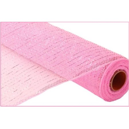 21 Inches x 30 Feet Metallic Mesh Roll for Decorations (Light Pink/Light Pink Metallic Foil)