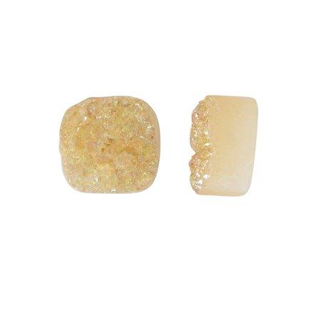 Peach Gemstone - Dakota Stones Gemstone Beads, Agate Druzy, Square 12mm, 2 Pieces, Iridescent Peach Champagne