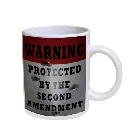 - KuzmarK Coffee Cup Mug Pearl Iridescent White - Warning Second Amendment Bullet Holes