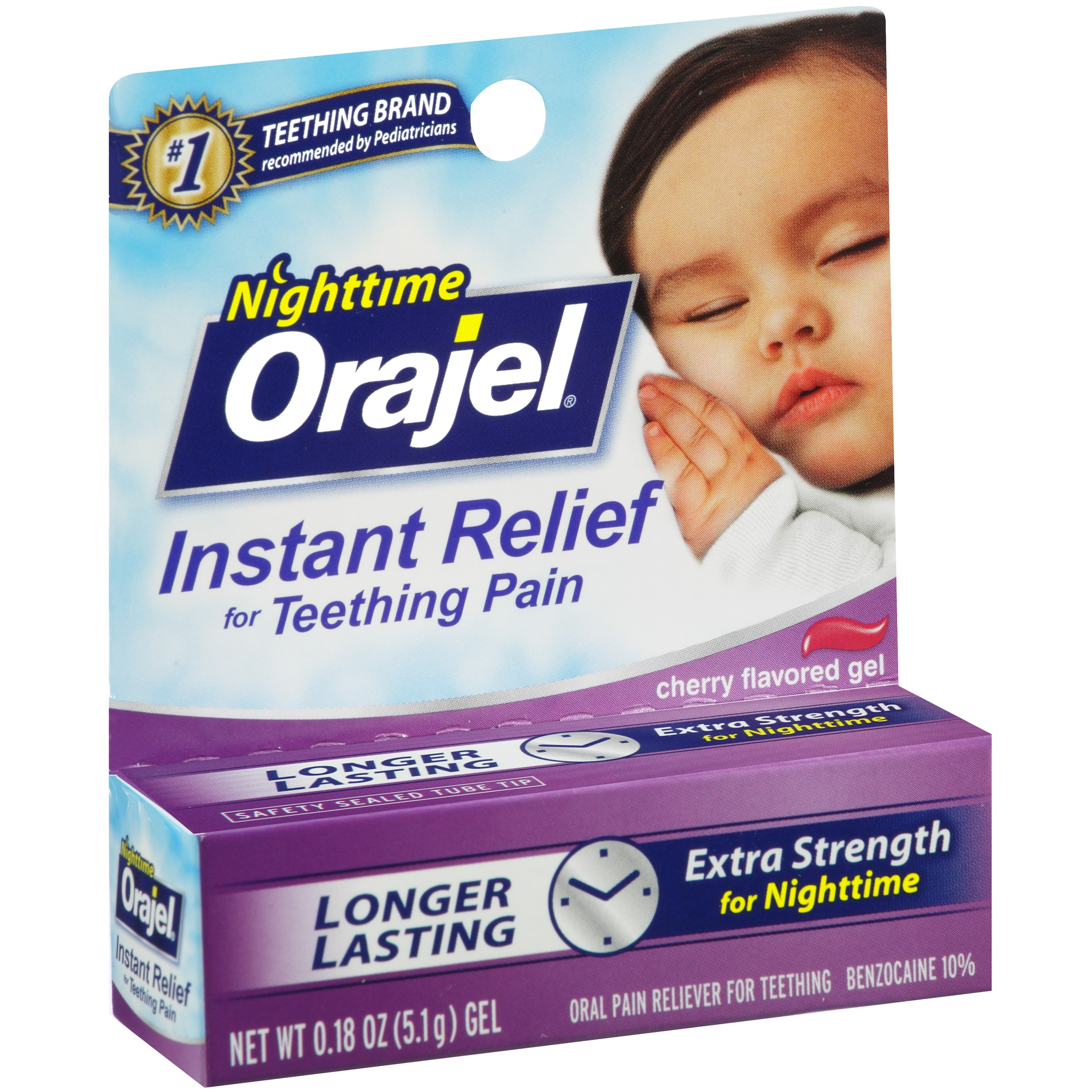 Orajel Nighttime Teething Pain Relief Gel, Cherry, 0.18 Oz