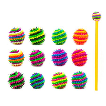 Frogsac 12 Pieces Spiral Spiky Silicone Pencil Toppers - Great Party Favors