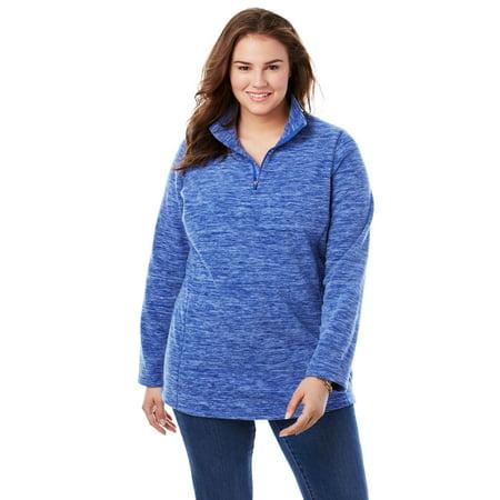 Woman Within Plus Size Quarter-Zip Microfleece Pullover Microfleece 1/2 Zip Pullover