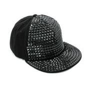 Unique Bargains Men's One Size Adjustable Snapback Leisure Cool Peaked Cap Black