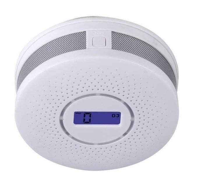 Arzil 2 in 1 Carbon Monoxide&Smoke Alarm Smoke Fire Sensor Alarm CO Carbon Monoxide Detector Sound Combo Sensor Tester Battery Operated with Digital Display for CO Level