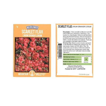 Scarlet Flax Wildflower Seeds - 1 Gram Seed Pouch - Annual Wild Flower Garden - Scarlet Maroon Blooms - Linum grandiflorum rubrum, Scarlet Flax.., By Mountain Valley Seed Company Ship from US