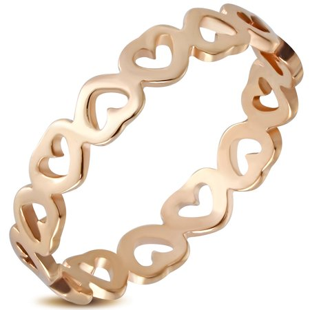 Stainless Steel Rose Gold-Tone Love Heart Promise Ring Band - Size