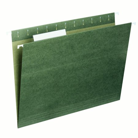 Smead Hanging File Folder, 1/3 Tab, Green, Letter Size, 25/Box