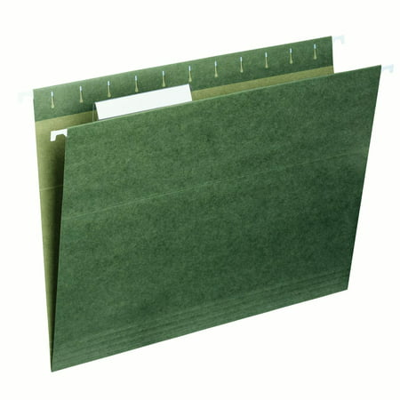 Essentials Hanging File Folders (Smead Hanging File Folder, 1/3 Tab, Green, Letter Size, 25/Box)