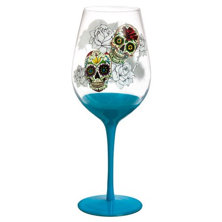 Evergreen Enterprises, Inc Day of the Dead 28 oz. Stemmed Wine Glass](Black Stem Wine Glass)