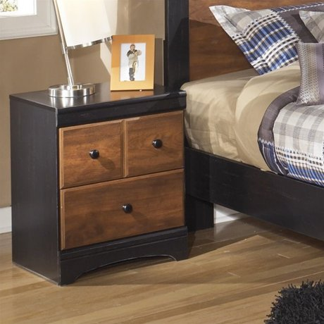 Ashley aimwell 2 drawer wood nightstand in brown for Meuble ashley circulaire