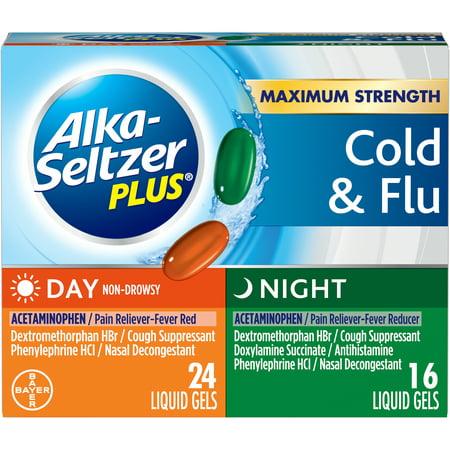 Alka-Seltzer Plus Day/Night Multi-Symptom Cold & Flu, Liquid Gels, 40