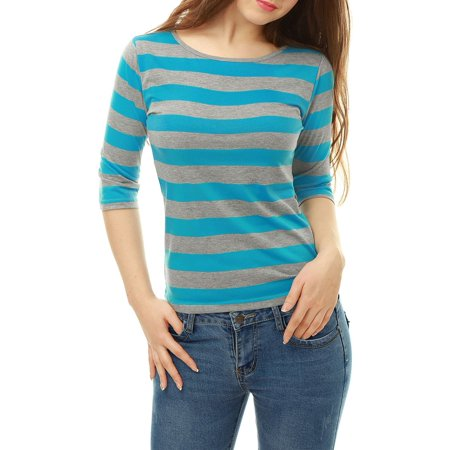 Women's Casual Round Neck Elbow Sleeve Contrast Striped Shirt Blouse Tops Blue Gray L (US 14)
