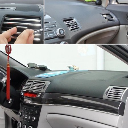 2M U Style DIY Car Interior Air Conditioner Outlet Vent Grille Chrome Decoration Strip Silvery