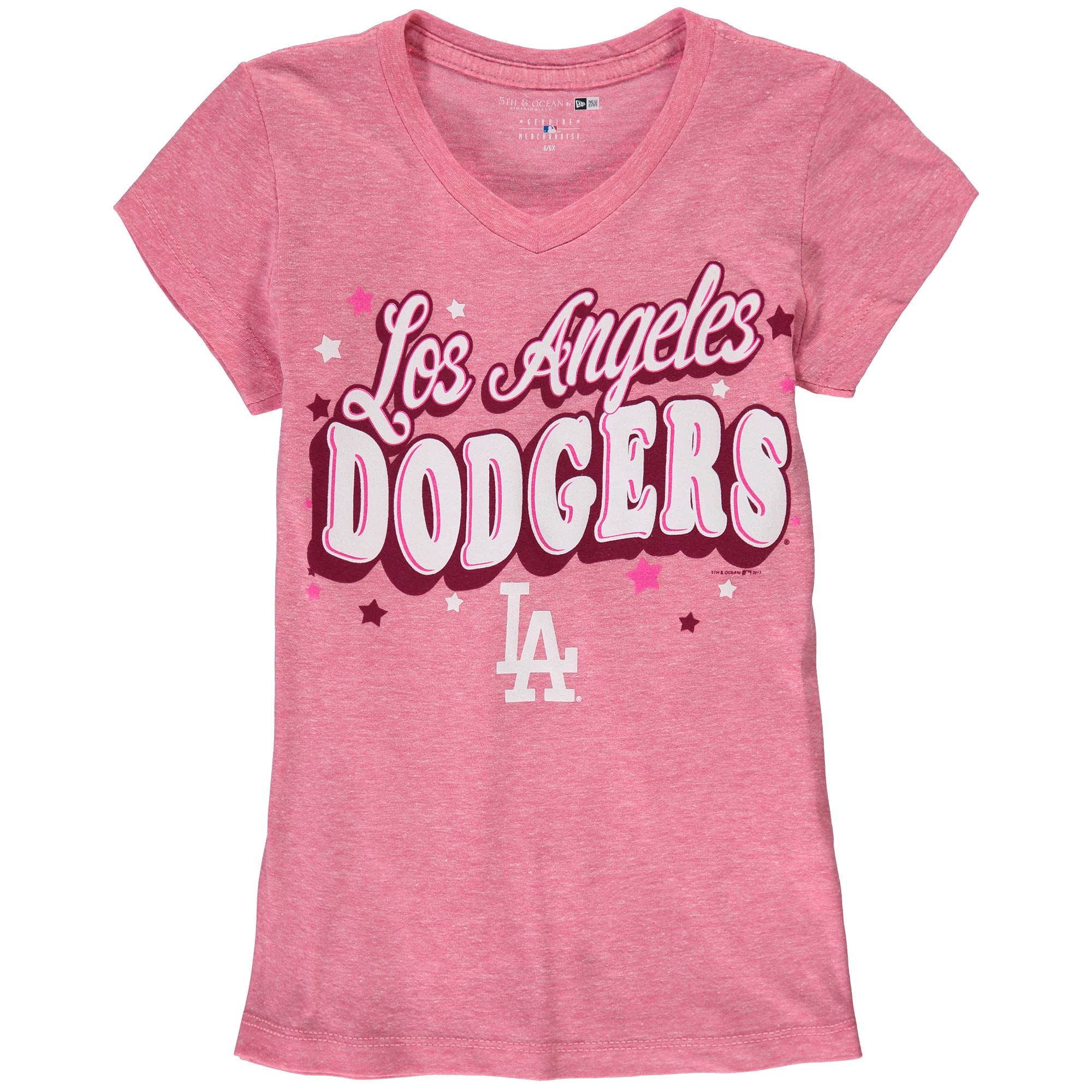 Los Angeles Dodgers 5th & Ocean by New Era Girls Youth Stars Tri-Blend V-Neck T-Shirt - Pink