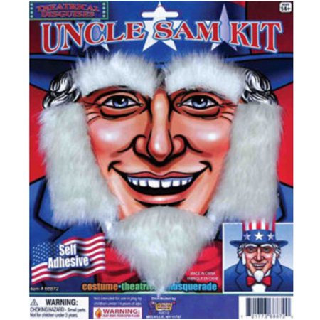 Uncle Sam Kit With Beard Sideburns And Eyebrows Costume Accessory - Fake Sideburns
