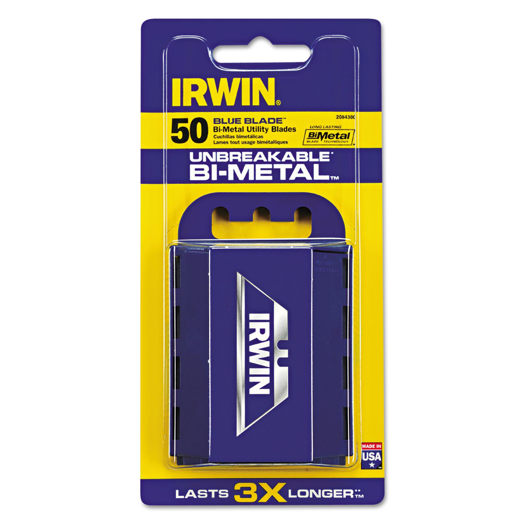IRWIN Utility Knife Bi-Metal Blue Blades™ 50 Count