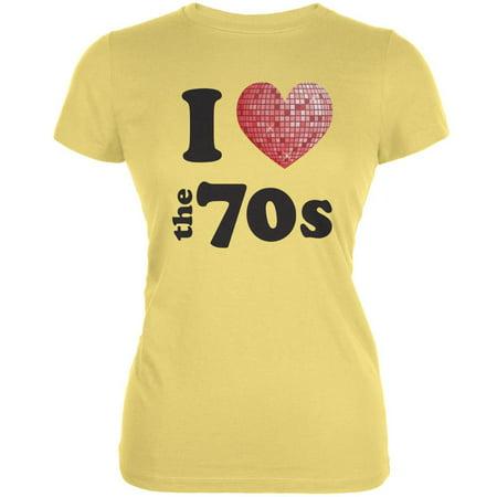 baccf6b96b0fc I Heart The 70s Yellow Juniors Soft T-Shirt