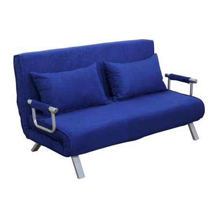 Full Size Folding 5 Position Steel Convertible Sleeper Bed Chair - Deep Blue