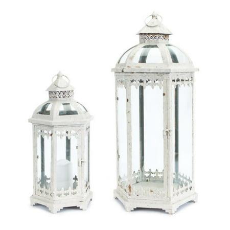 Set of 2 Fleur de Lis Weathered White Metal and Glass Pillar Candle Holder Lanterns 24.5