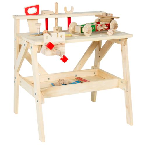 Kids Wood Work bench Wooden Workshop Tool Storage Construction Pretend Toy Set