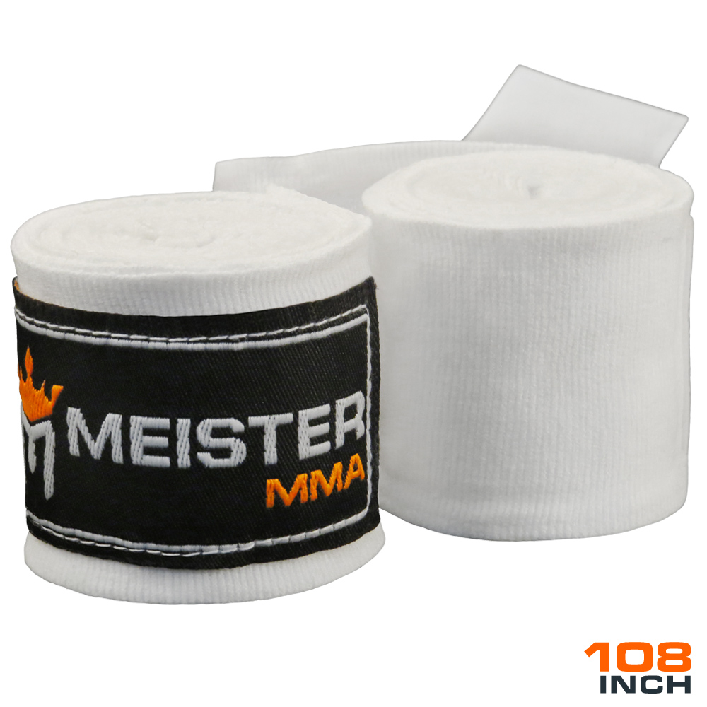 "Meister Junior 108"" Semi-Elastic MMA Hand Wraps (Pair) - White"