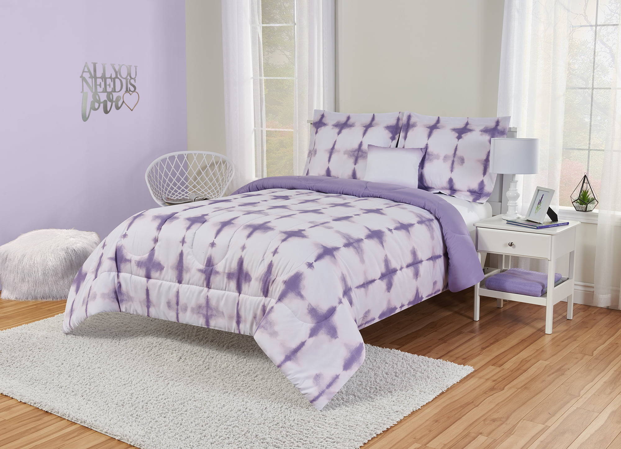 Better Homes And Gardens Kids Lavender Tie Dye Comforter Set Walmart Com Walmart Com