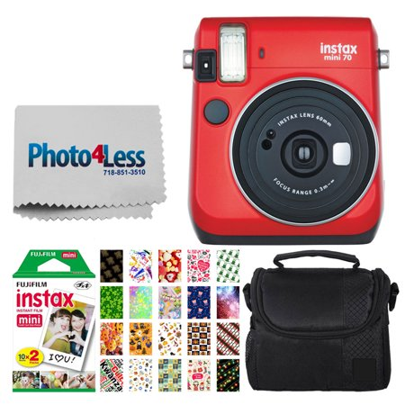 Fujifilm instax Mini 70 Instant Film Camera (Passion Red) + Fujifilm Instax Mini Twin Pack Instant Film + Small Digital Camera/Video Case + 20 Sticker Frames for Fuji Instax Prints Holiday Package