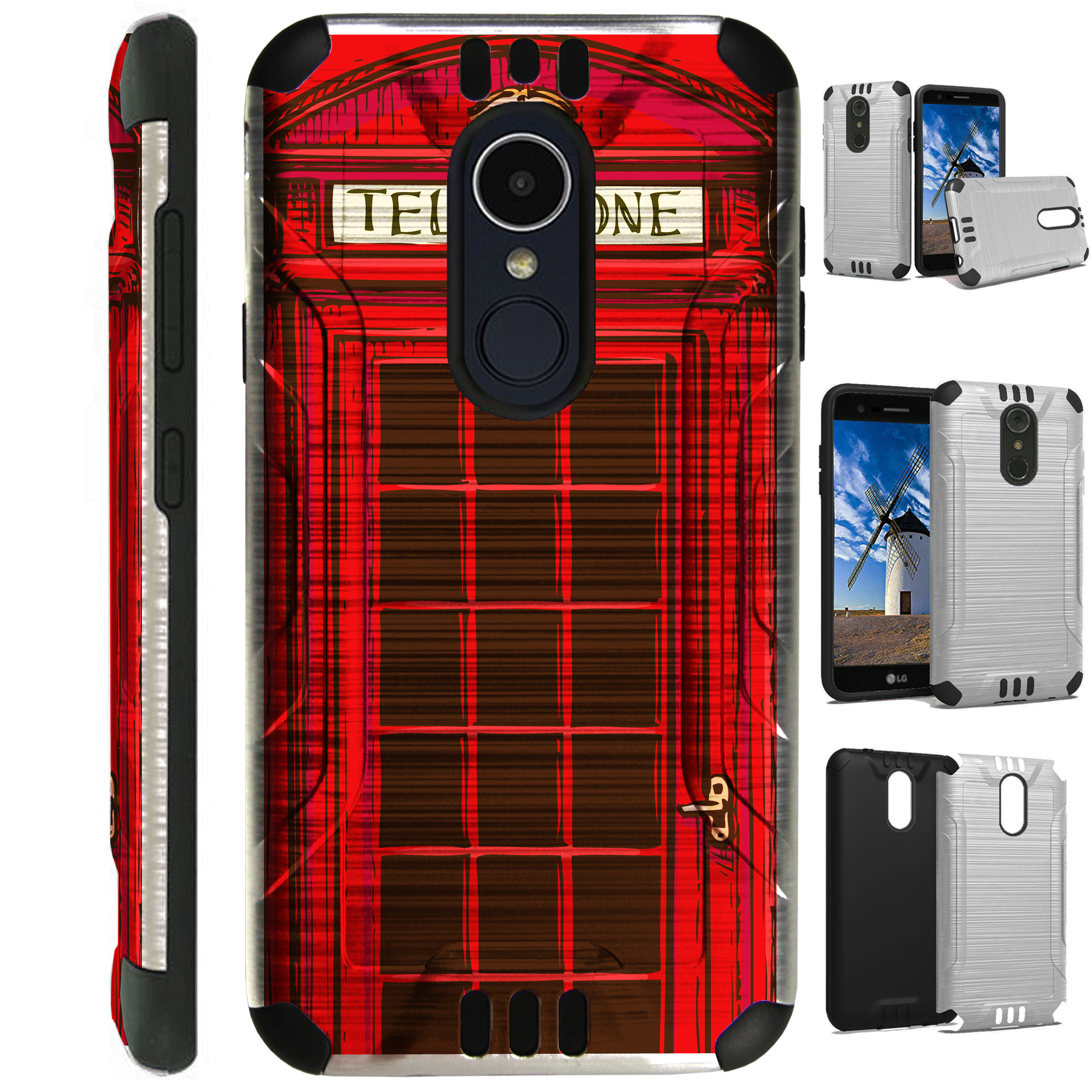 For LG Rebel 3 | LG Rebel 4 Case Brushed Metal Texture Hybrid TPU Silver Guard Phone Cover (Red Phone Booth )
