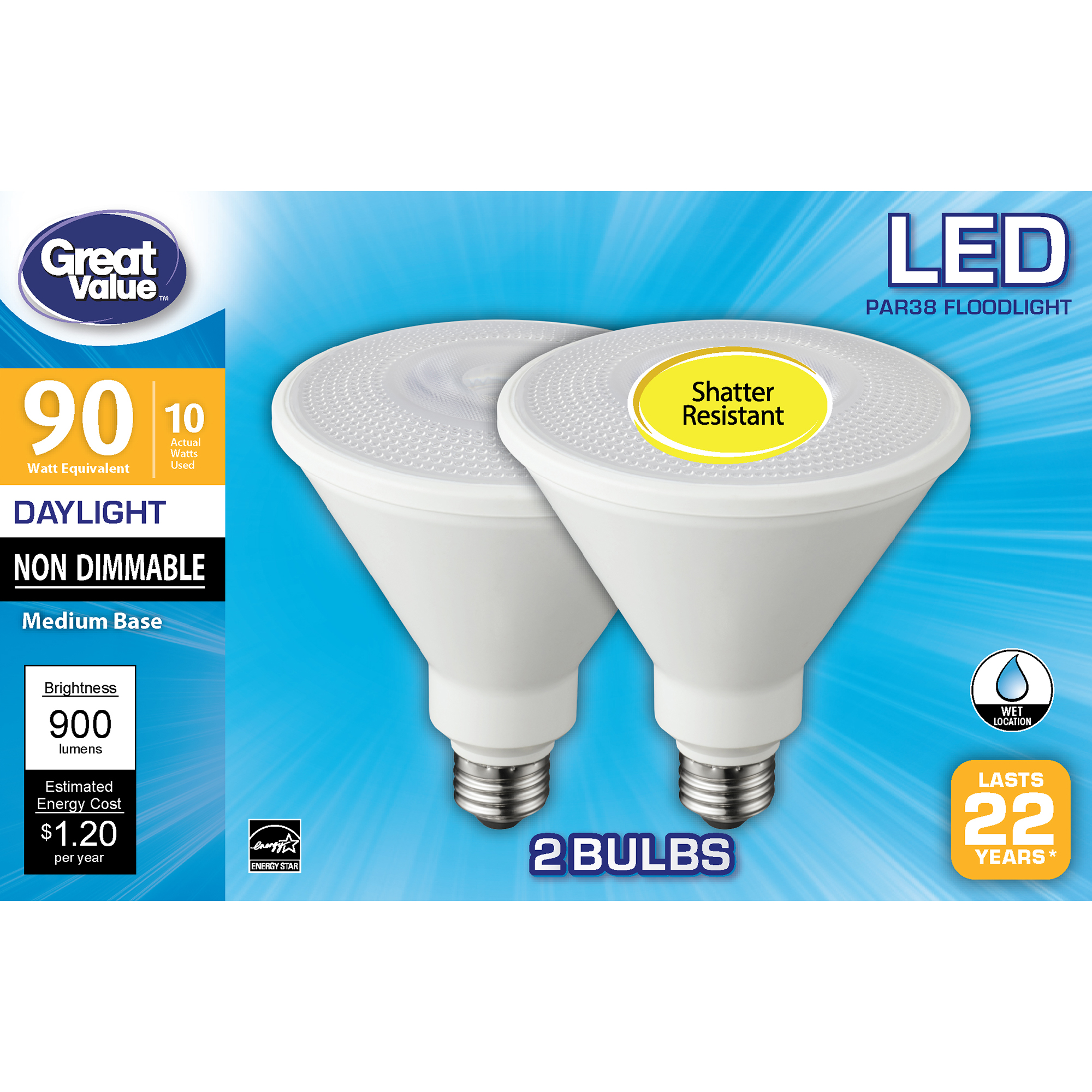 Great Value Led Light Bulb 10 Watts 90w Equivalent Par38 Floodlight Lamp E26 Medium Base Non Dimmable Daylight 2 Pack Walmart Com Walmart Com