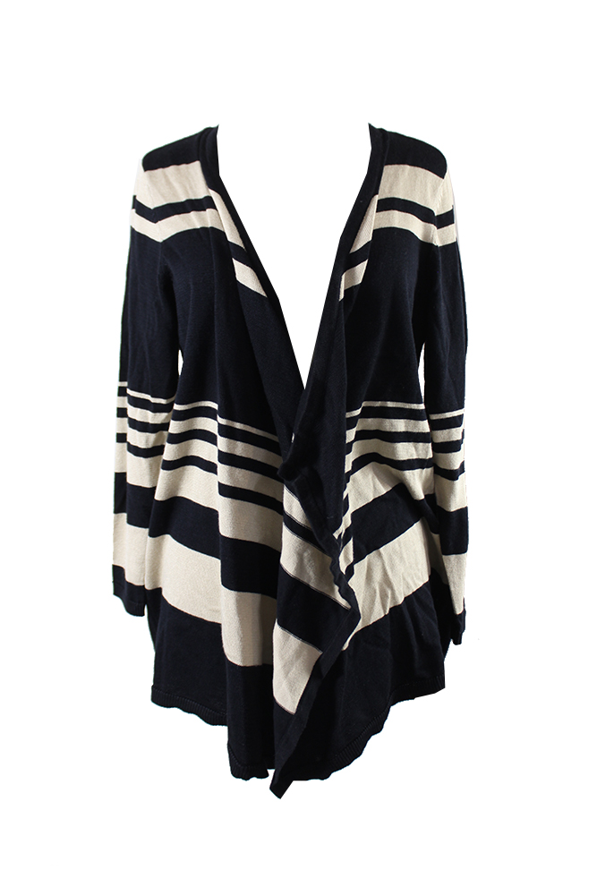 Jm Collection Plus Size Black Beige Fly-Away Open-Front Cardigan 0X