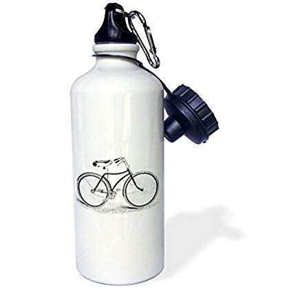 3dRose Black and white vintage bicycle pen and ink drawing print - old-fashioned cycler cycling bike, Sports Water Bottle, - Bicycle Water Bottle
