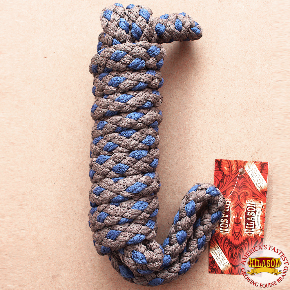 "Hilason Horse Riding Poly Lead Rope Brown Navy Blue  1/4"" X 8 Ft."