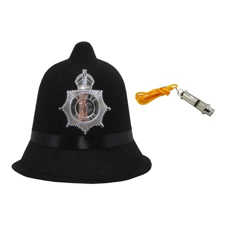 English Bobby British Office Policemen Felt Hat Whistle Halloween Accessory Kit (English Bobby)