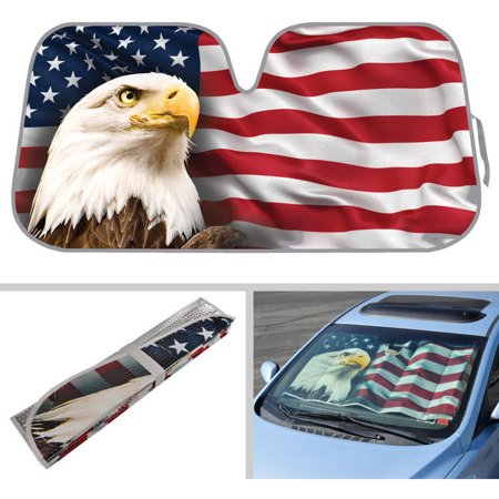 BDK USA Eagle Flag Design Auto Auto Shade for Car SUV Truck, Stars and Stripes, Bubble Foil Jumbo Folding Accordion for - Suv Windshield
