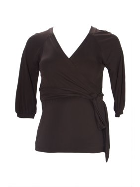 OLIAN Maternity Women's Elbow Sleeve True Wrap Blouse X-Small Brown
