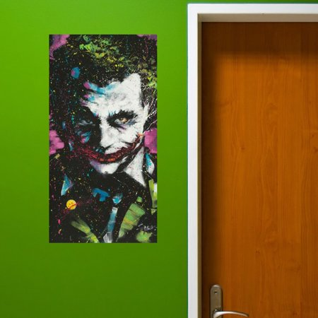 Peel n stick joker wall decal sticker art stephen fishwick for Paintable peel n stick wallpaper