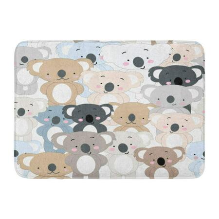 LADDKE Vintage Cute Koala Bear Blue Grey Pastel Baby Teddy Cartoon Pattern Doodle Comic Doormat Floor Rug Bath Mat 23.6x15.7 inch ()