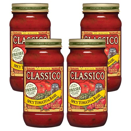 (4 Pack) Classico Spicy Tomato and Basil Pasta Sauce, 24 oz Jar (Olive Oil Basil Pasta)