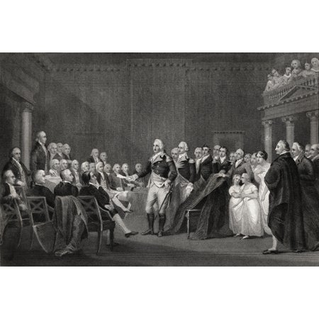 Washington Resigning His Commission At Annapolis 23 December 1783 George Washington 1732-1799 First President Of The United States From A 19Th Century Print Engraved By Rogers After Trumbull Canvas Ar for $<!---->