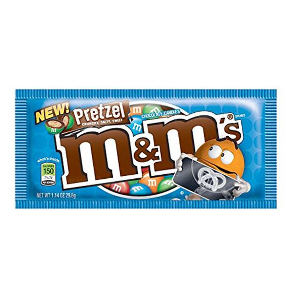 M&M's Pretzel Chocolate Candies 1.14 oz Pouches - Pack of 24